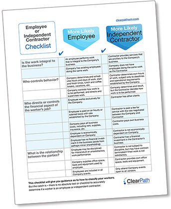 Employee or Independent Contractor Checklist